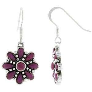 Flower Hook Earrings, w/ 3mm Round & Two 5 x 3 mm Pear shaped Purple