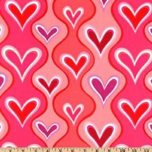 44 Wide Valentines Day Wavey Stripe Hearts Red/Pink Fabric By The
