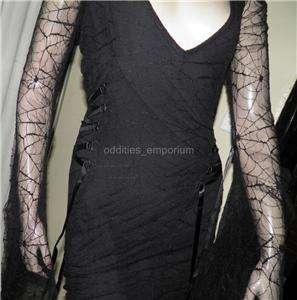 Goth Gothic Vampire Rock Black Spiderweb LIP SERVICE Blacklist Dress L