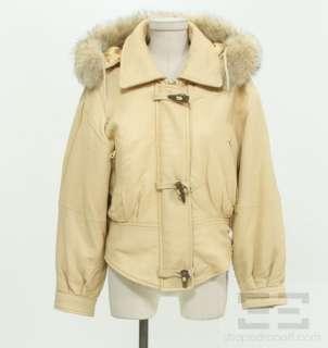 Studio Andrew Marc Tan Leather & Fox Fur Trim Hooded Jacket Size