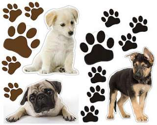 27pc PUPPIES Dogs WALL STICKERS Kids Cutouts Paw Prints