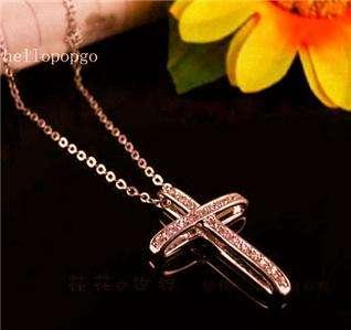 18K Rose Gold GP Swarovski Crystal Cross Unique Necklace AB176