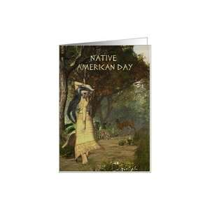 Native American Day, Native Female, with Animals Card