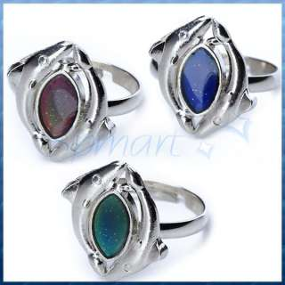 CHANGEABLE 2Dolphins Twisted Emotion Feeling Mood Band Ring