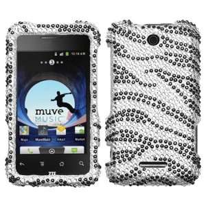 Black Zebra Skin Diamante Protector Cover for ZTE X500