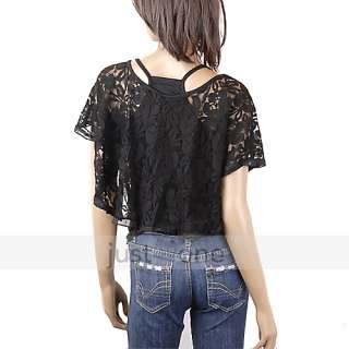 fashion women lace top shirt cover up blouse vest 2in1 article nr