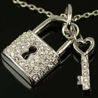 White gold GP SWAROVSKI crystal key & lock necklace E40