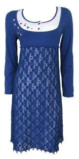 Navy Grey Lace Long Sleeve Tunic Dress Clara Size 14 New