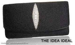 100% GENUINE BLACK STINGRAY SKIN LEATHER LADY CLUTCH PURSE WALLET+Gift