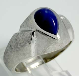 VINTAGE 14K WHITE GOLD SIGNED 3CT PEAR LINDE STAR SAPPHIRE MENS RING
