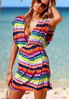 Women Sexy Beach summer dress sleeveless v neck Colored stripes *053