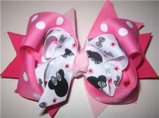 Minnie Mouse Zebra Boutique Hair Bow Girls Party Hairbow Magical Pink