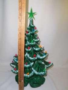 VTG 70s Ceramic CHRISTMAS TREE Green ATLANTIC MOLD MuLTi LigHTs