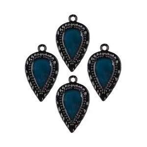 Cousin Jewelry Basics Metal Charms 4/Pkg Black/Teal