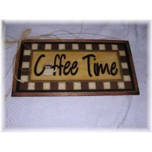 Coffee Time Wooden Kitchen Wall Art Sign Cafe Decor