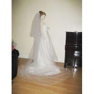 Ivory 2 Tier Cathedral Wedding Bridal Long Veil Satin Edge