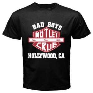 New MOTLEY CRUE Metal Rock Band BAD BOY Mens Black T Shirt Size S