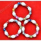 Chunk wide white beads fashion beautiful opal chain bracelet P0121