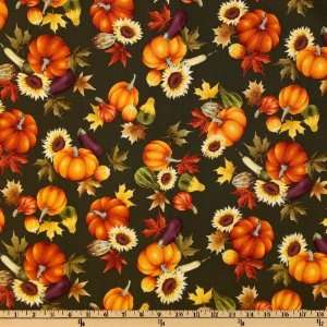 44 Wide Autumn Leaves Harvest Olive Fabric By The Yard
