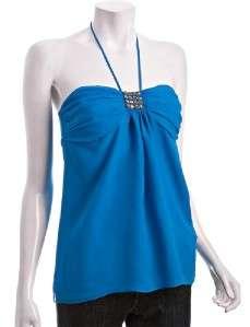 ROCK & REPUBLIC Tailor Made Collection TATUM silk halter top blouse