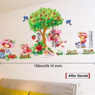 Strawberry Shortcake Tree Swing Girl Nursery Baby Wall Sticker Decal
