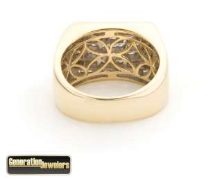 Magnificent Mens 14K Diamond Pave Pinky Ring yellow gold 1.5 carat