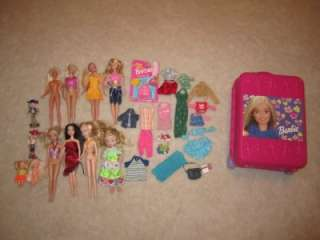 Barbie Dolls Clothes Accessories + Carrying Case 33pcs