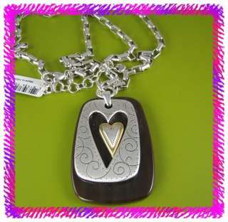 BRIGHTON Silver BAY CITY HEART Long NECKLACE NWT Pouch