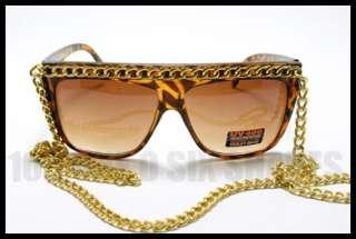 Celebrity Pop Star Fat Gold CHAIN Sunglasses Flat Top TORTOISE Brown