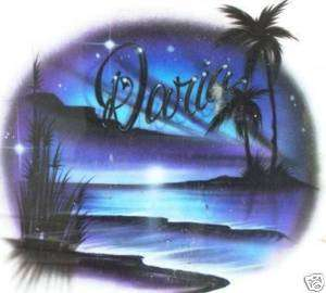 Personalized Airbrush Beach Scene T shirt, w/ YOUR Name