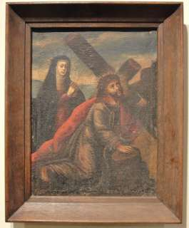 European Old Master religious icon painting Jesus Christ and Mary