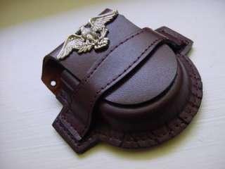 Brown Gen. Leather Pocket Watch Case / Holder Belt Loop