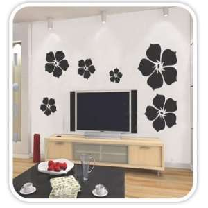 Mural Art Wall Paper Stickers   Flying flower (Black)