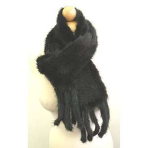 Mink Scarf,Mink Wrap & Shawl  Soft Touch Black Mink Scarf  5.5 Wide x