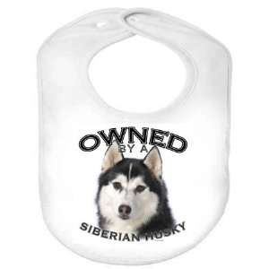 Siberian Husky BLACK Owned Organic Cotton Infant Baby Bib