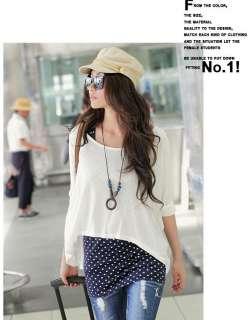 Korea Womens 2 Pcs Twinset Dot Tank Tops Loose Crew collar T shirt