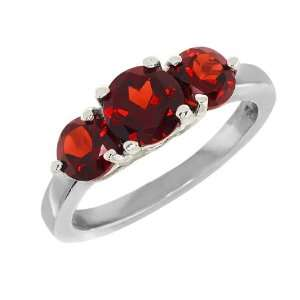 2.26 Ct 3 Stone Round Red Garnet .925 Sterling Silver Ring