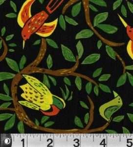 SAFARI SO GOOD Jungle BIRD P & B Textiles fabric black