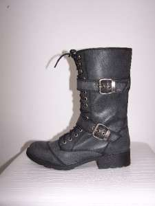 NIB New G By GUESS Black Grey BETTER Military Combat Ankle Booties