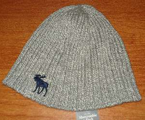 Mens Teen Boy ABERCROMBIE & FITCH Beanie Skull Knit Cap Hat Gray Navy