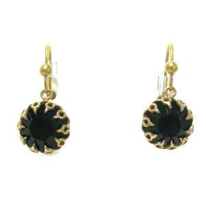 Catherine Popesco 14K Gold Plated Jet Black Swarovski Crystal Dangle