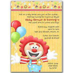 circus carnival clown ticket birthday party invitations