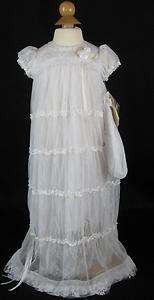 NWT Baby Biscotti Lace Christening Gown Dress 3 6 9 Mos