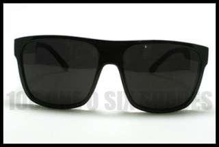 MOB Sunglasses Squared Flat Top Dark BLACK 80s Retro Style