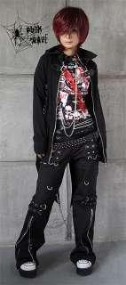 Japan womens mens BLACK COOL punk goth rock ZIPPER pants trousers S M