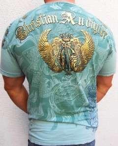 AUDIGIER ED HARDY tattoo GOLDEN LION Chain Dress T Shirt sz L
