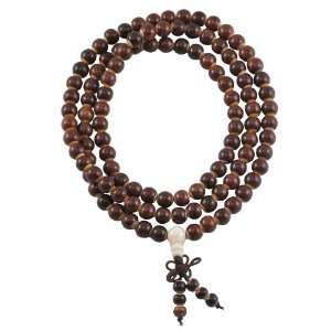 8mm Rosewood Bone Inlaid Elastic Prayer Beads, Tibetan Mala, Rosewood