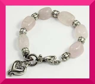 Brighton Light Pink Blaire Heart Charm Bead Bracelet HTF