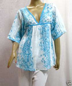 WOMENS BLOUSE COTTON SHIRT WHITE & BLUE ORIENTAL PRINT TOP S M