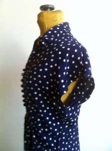~ SILK CRAPE NAVY BLUE POLKA DOT DRESS METAL SIDE ZIPPER WWII